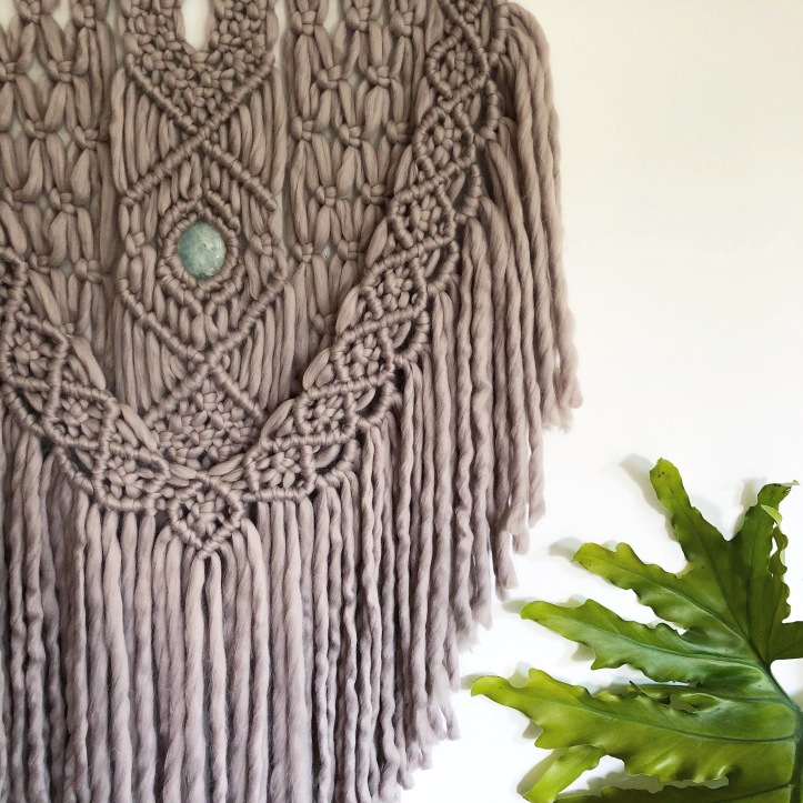 Wall Hanging with Gemstone Ore + Wool
