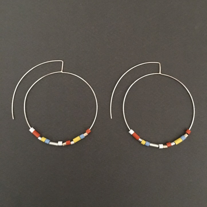 Beaded Silver Hoop Earrings S Tector Metals